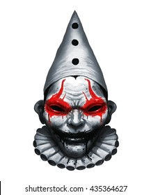Scary clown head in the hood. color graphic illustration
