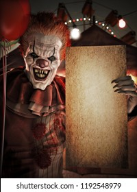 Scary clown holding a blank empty grunge mock up poster card sign invitation for Halloween or party advertisement with room for text or copy space .Circus theme in background. 3d rendering