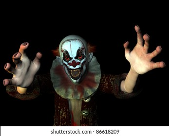 Scary clown reaching for you. Isolated on a black background.
