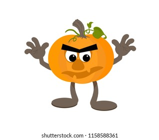Scary but cute cartoon pumpkin mascot with creepy smile.