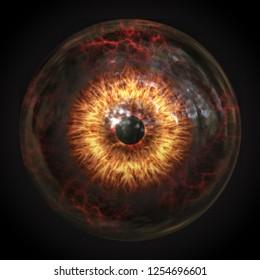 A scary devils eyeball 3d illustration