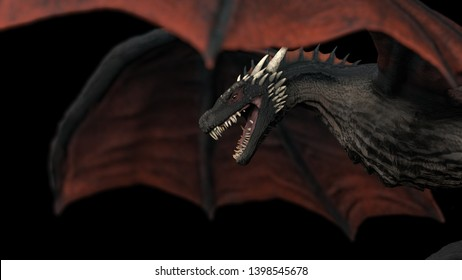 Scary dragon in air wings wide open black background isolated 3d illustration