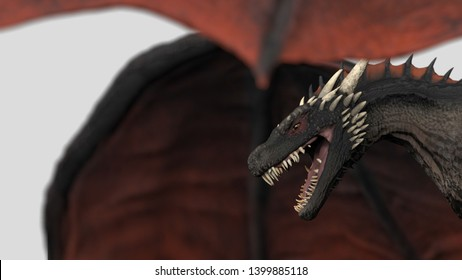 Scary dragon in air wings wide open white background isolated 3d illustration