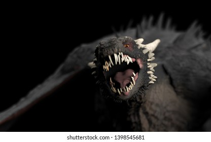 Scary Dragon with huge teeth and open mouth black background isolated 3d illustration