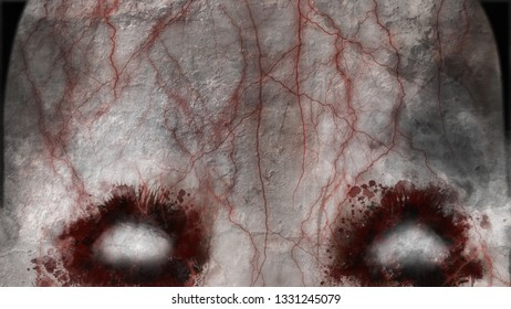 Scary eyes, portrait of an undead witch with haunting scary white eyes, 3d rendering - 3d Illustration