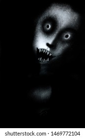 Scary face, horror spooky wallpaper with monster, halloween background