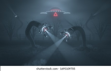 Scary foggy landscape with invaders. Robotic fantastic machine monster with tentacles on countryside road. 3d render