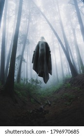 Scary ghost floating in a foggy forest. 3D Rendering, Illustration