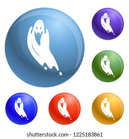 Scary ghost icons set 6 color isolated on white background