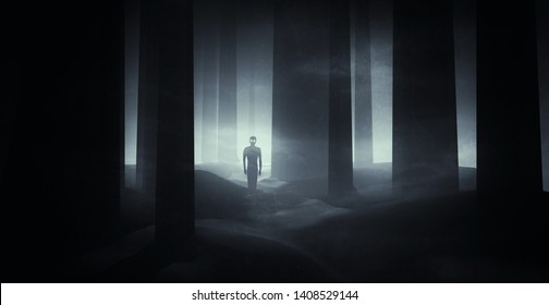 scary ghostly apparition in haunted forest at night, horror scene background