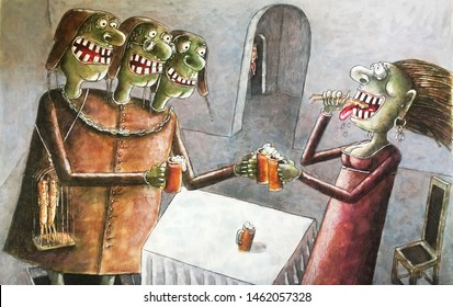 scary green three-headed monster celebrates Halloween with a girlfriend, drink beer, watercolor, illustration