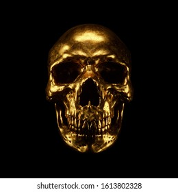 Scary grunge gold human skull isolated on black background. Concept art of a creepy gothic skull with teeth. Dark fantasy. Devil gold Mask. Skull and Crossbones. Halloween. 3d illustration