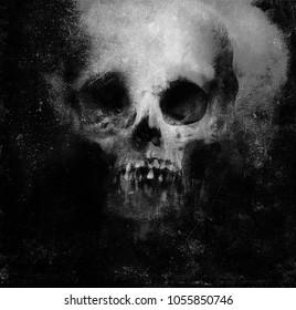 Scary Grunge Skull Isolated On Black Background. Design for t-shirt print with skull. Horror Wallpaper.