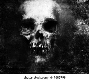 Scary grunge skull wallpaper. Halloween background.
