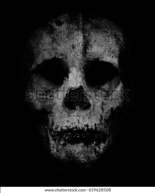 Scary Grunge Skull Wallpaper Halloween Background Royalty