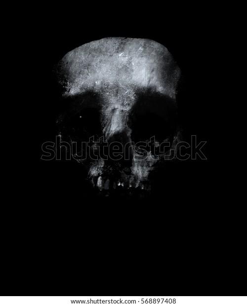 Halloween Skeleton Wallpaper.Scary Grunge Skull Wallpaper Horror Background Stock