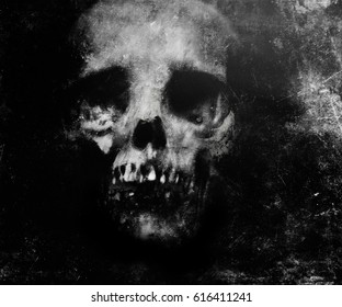 Scary grunge wallpaper. Halloween background with spooky skull.