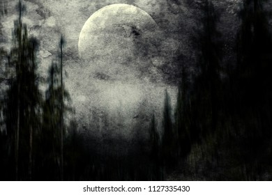 Scary halloween forest, dark spooky nature wallpaper