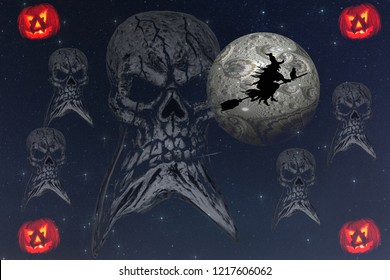 A scary Halloween image created with images taken or created by myself. The withch is a  template which is CCO Creative Commons. Free for commercial use. No attribution required. From Pixabay.