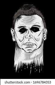 Scary Halloween mask on black background