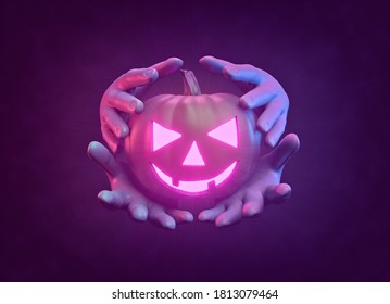 Scary Halloween pumpkin with hands. simple design for poster and banner. 3d rendering
