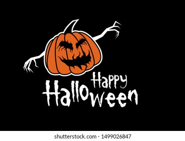 Scary halloween pumpkin illustration. Happy Halloween greeting inscription. Happy Halloween with pumpkin illustration. Halloween pumpkin isolated on a black background. Pumpkin with sinister smiling
