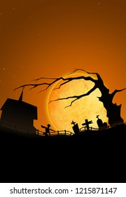 Scary halloween scene with moon, old tree and  cemetery