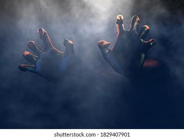 Scary hands from dark, frightening monster hand in fog, Halloween horror concept. 3d rendering