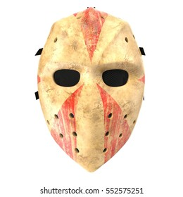 Scary Hockey Halloween Mask On White 3D Illustration