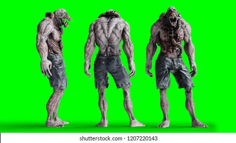 Scary, horror monster. Fear concept. green screen, isolate. 3d rendering.