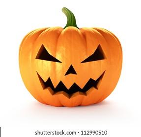 Scary Jack O Lantern halloween pumpkin, 3d render