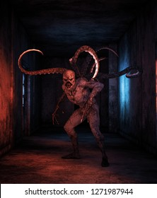 Scary monster creatures in abandoned building,3d illustration