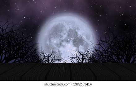 Scary moon in halloween night illustration concept design background with full moon, stars field, creepy trees, and dark wooden plate. Element of this image furnished by NASA.