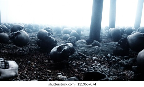 Scary old skulls in fog night forest. Fear and horror. Mistic and apocalypse concept. 3d rendering.