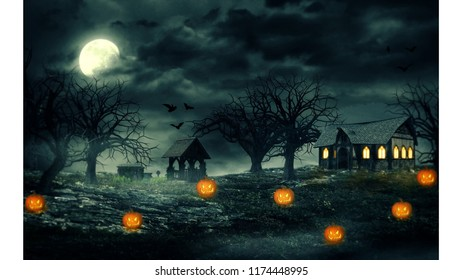 Scary pumpkins background