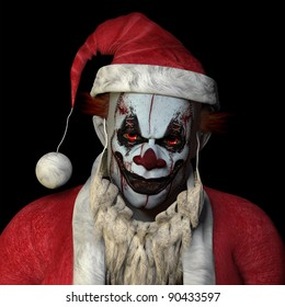 Scary Santa clown glaring at you. Isolated on a black background.
