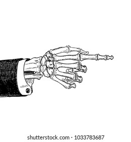 Scary skeleton hand pointing, hand-drawn sketch, black and white, isolated on white. Raster version illustration.