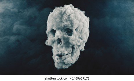 Scary skull created from a cloud of smoke. 3d illustration