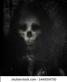 Scary Skull Isolated On Black Grunge Background. Design for t-shirt print with skull. Horror spooky wallpaper.