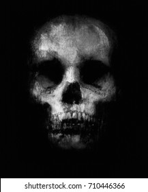 Scary Skull Isolated On Black Background Halloween Wallpaper Design For T Shirt Print
