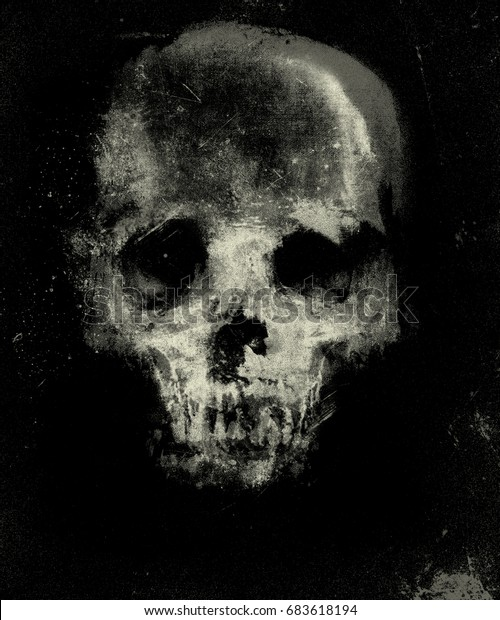 Scary Skull Wallpaper Halloween Background Design Stock