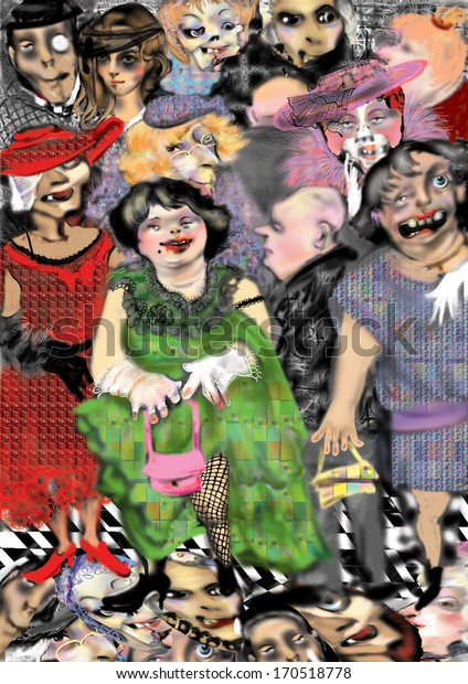 scary, ugly zombie people in ballroom clothe, stepping over heads of other zombies and dead people, raster illustration