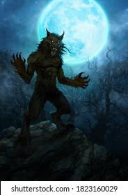 Scary werewolf and full moon - digital illustration
