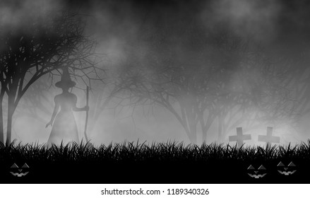 Scary witch standing on graveyard in creepy forest with evil pumpkins, crosses, and mist illustration design background for halloween concept.