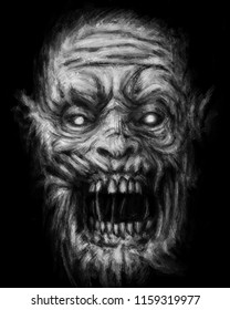 Scary zombie face on black background. Illustration in horror genre. Drawing monster character face.