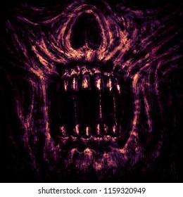 Scary zombie jaws on black background. Illustration in horror genre.