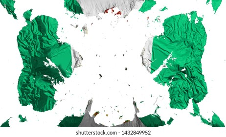 Scattered Abuja, capital of Nigeria flag, white background, 3d rendering