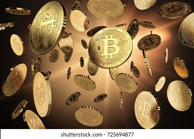 Scattered Bitcoins on a lighted background. Success and growth concept. Perfect for covers, posters, banners and other advertising projects. 3D rendering