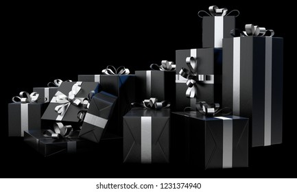 A scattered collection of various sized gift boxes wrapped in a shiny black paper and a silver ribbon and bow on an isolated dark studio background - 3D render