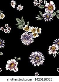 Scattered Dark Floral Print Jpeg